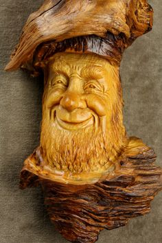 Wood carving Wood Spirit Elf Wizard on Etsy by TreeWizWoodCarvings, $88.00