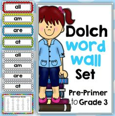 Dolch Word Walls Pre-Primer, Primer, Grade 1, Grade 2 and Grade 3 Bundled  This file includes Dolch lists: Pre-Primer Primer Grade One Grade Two and Grade Three Dolch words http://www.teacherspayteachers.com/Product/Dolch-Word-Walls-Pre-Primer-Primer-Grade-1-Grade-2-and-Grade-3-Bundled-1202468