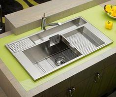 #cocinas fregadero de acero inoxidable con escurridor