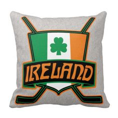 Irish Ice Hockey Flag Logo Pillows. Check out this custom made throw pillow. $29.95. To see this design on the full range of products, please visit my store: www.zazzle.com/gamefacegear*/ #HockeyPillows #IceHockey  #Ireland