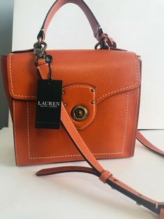 cd4f45b16d Ralph Lauren Millbrook top handle Orange leather satchel crossbody bag  Handbag