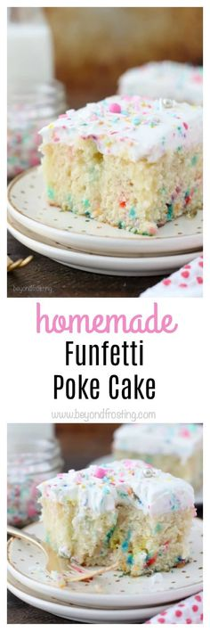This homemade Funfetti Poke Cake is a moist vanilla cake loaded with sprinkles. It has a vanilla pudding filling and it's topped with a cake batter whipped cream.