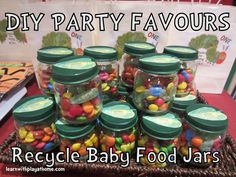 Baby food jars!! Instead of favors... Paint the lid, drill a hole, blow up balloons putting ribbon through the hole and tying a knot!! Super cheap, DYI decoration center piece idea.
