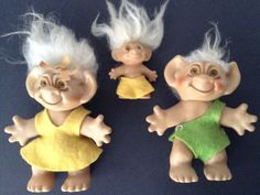3 Vintage Uneeda WishNik Trolls Dolls Dam Family Man Woman Child Mohair Clothes #Uneeda #DollswithClothingAccessories