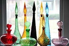 Century Italian Glass Decanter (one of many fabulous… Vintage Bottles, Vintage Glassware, Colored Glass Bottles, Colored Vases, Coloured Glass, Pots, Blenko Glass, Genie Bottle, Art Of Glass