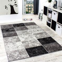 Tapis De Créateur Contemporain à Carreaux En Gris Noir Blanc, Dimension:160x230…