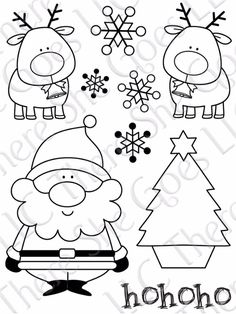 Santa, reindeer, snowflakes and Christmas tree, what more could you ask for in a design template. provare a intagliare su substrato per fare timbri. Christmas Doodles, Noel Christmas, Christmas Colors, All Things Christmas, Winter Christmas, Christmas Decorations, Christmas Ornaments, Christmas Templates, Christmas Printables