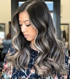 Ash Brown Hair With Blonde Balayage Brown Hair With Ash Blonde Highlights, Grey Brown Hair, Blonde Streaks, Blonde Color, White Highlights, Gray Hair, Blonde Roots, Grey Balayage, Balayage Highlights