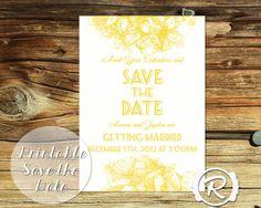 Printable Wedding Save the Date Limoncello by RubyRidgeStudios - Bright Yellow