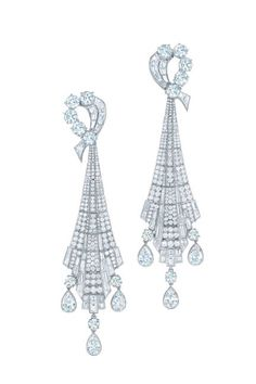The Blue Book Collection Tiffany diamond drop earrings in platinum. Price upon request.  Read more: Tiffany & Co. Great Gatsby Jewelry Collection - Jewelry Tiffany & Co. Great Gatsby and Blue Book - ELLE Follow us: @ElleMagazine on Twitter | ellemagazine on Facebook