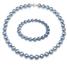 Bling Jewelry Blue Simulated Pearl Bracelet Necklace Set Brass ($30) ❤ liked on Polyvore featuring jewelry, blue, bridal necklace set, wedding bridal jewelry, beaded jewelry, blue bridal jewelry and blue jewelry