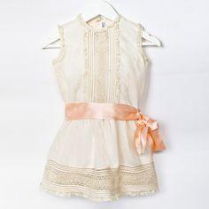 Girl dress in Swiss piqué with openwork. Handmade. Los Encajeros