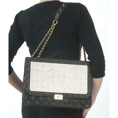 Quilted Crystal Studded Shoulder Bag
