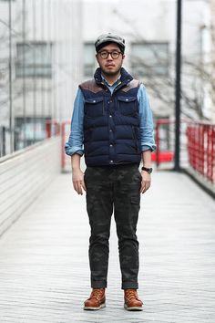 Ji Sung You, columnist. Muji hunting cap, Penfield vest, Uniqlo cargo pants, Thorogood boots. Shot by Cho Seong Joon