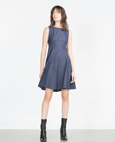 Saw on Felicity in Arrow... FLARED DENIM DRESS from Zara