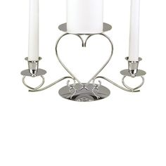 Triple Heart Wedding Unity Candle Stand in silver perfect for a Valentine wedding!  http://partyblock.carlsoncraft.com/Wedding/Unity-Candles--Stands/ZB-ZBK44605-Triple-Heart-Candle-Stand--Silver.pro