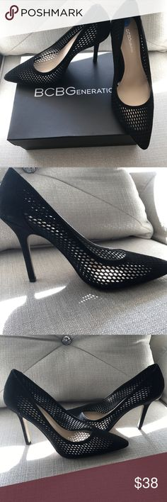 BCBGeneration Black Mesh Heels 6.5 🖤✨ BCBGeneration ✨ 6.5 - Black Micro Suede Mesh Heels. Brand new with tags. Super trendy for the warmer weather! 🖤✨ They have an edgy fishnet/mesh vibe to them. They look cute with jeans or shorts!! 🖤 Super Chic look! ✨ BCBGeneration Shoes Heels