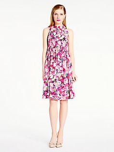 rose print silk tie back dress