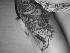 Upper Thigh Tattoos For Girls   thigh tattoo by I-sabelle
