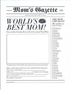 World's Best Mom Gazette Newspaper for Mother's Day
