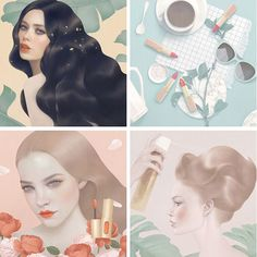 Four digital paintings created by Hsiao-Ron Cheng for L'oreal Paris (US). Taipei, Taiwan based illustrator and digital artist, Hsiao-Ron Cheng was hired to