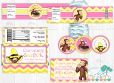 Curious George Printable Party Kit : Cupcake Toppers Water Bottle Labels Favor Tags and Candy Wrapper by OneCrafts on Etsy https://www.etsy.com/listing/150320446/curious-george-printable-party-kit