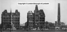Doulton Buildings, Albert Embankment, Lambeth 1950 most of which and chimney now demolished Old Buildings, Abandoned Buildings, Old Pictures, Old Photos, Uk Capital, London Architecture, Moon Magic, Vintage London, South London