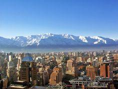 The snowy Andes behind Santiago