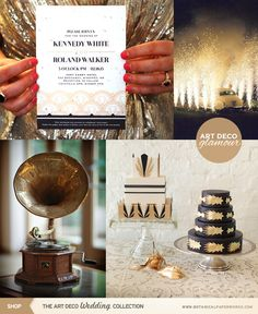Love all the 1920's Gatsby inspired glamour in this Art Deco wedding inspiration board.