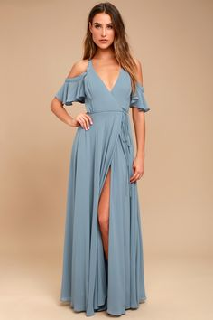 Glide across the dance floor in the Easy Listening Slate Blue Off-the-Shoulder Wrap Maxi Dress! Lightweight Georgette wrap maxi dress with off-the-shoulder sleeves.