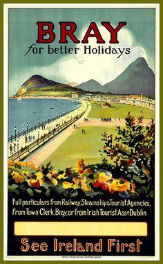 Bray Ireland 4 sizes, matte+glossy avail Vintage Travel Poster