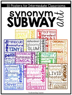 Character Traits & Synonyms Subway Art - The Brown Bag Teacher