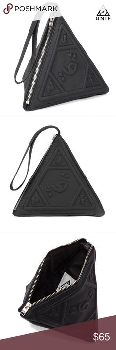 UNIF pyramid wristlet UNIF clothing triangle pyramid clutch, black faux leather, BNWOT brand new without tags in perfect condition (never used), hard to find & no longer sold, 100% authentic UNIF Bags Clutches & Wristlets