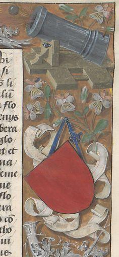 Ribbon blazon with canon Claudius Ptolemaeus , Cosmographia , Jacobus Angelus interpres Source: gallica.bnf.fr Librairie royale de Blois, Latin 4804, fol. 2r.