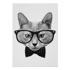 #Vintage #hipster #cat #poster