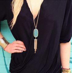 Gorgeous mint stone tassel necklace http://rstyle.me/n/gmzdnnyg6