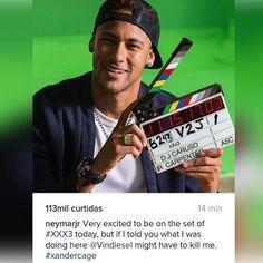 """É tudo muito maravilhoso gente! Cada dia uma novidade que só engrandece nosso ídolo. Muito orgulhosa de vc por tudo #neymarjr #neymar #tripox ❤❤❤❤❤❤❤❤❤❤❤❤ """"Muito animado por estar no set de #xxx3 hoje, mas se eu disser o que eu estava fazendo aqui @Vindeisel pode ter que me matar. #xandercage"""