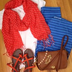 Pattern Mixing stripes and polkadots // summer style // red, white and blue // thrifted coach purse // Stella & Dot jewelry
