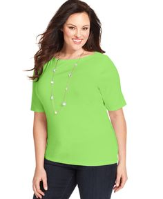 Charter Club Plus Size Elbow-Sleeve Boat-Neck T-Shirt, Only at Macy's