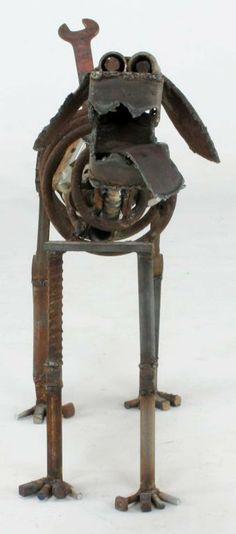 Life Sized Folk Art Welded Steel & Iron Dog Sculpture image 2