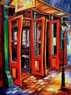 Big Red Doors in the French Quarter Painting by Diane Millsap