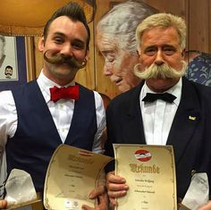 World's Beard and Moustache Championships in Leogang, Austria, Mr Jackie Lynn Ellison from the Austin Facial Hair Club took 1st place in the Imperial Moustache category, and Mr Wolfgang Schneider was placed 1st in Natural Moustache.