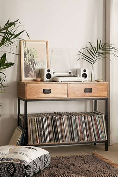 Hallway console vinyl display storage