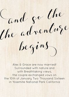 Rustic Elopement Announcement Card Wedding Announcements #Announcement