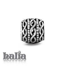 Intricate Braid: Darlingly detailed patterned cutout barrel bead: designed exclusively by Halia, this bead fits other popular bead-style charm bracelets as well. Sterling silver, hypo-allergenic and nickel free.   $35.00