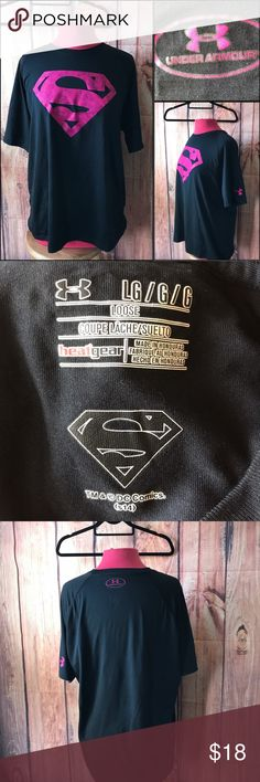 Under Armour Superwoman Superman Workout T shirt Perfect. This shirt fits loose. Under Armour Tops Tees - Short Sleeve