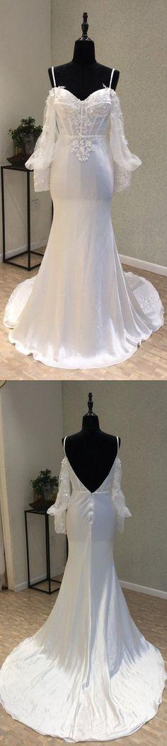 Long Sleeves Spaghetti Strap Mermaid Sexy Backless Long Wedding Dresses, WG1232 #weddingdress