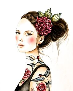 original  Juana and roses by claudiatremblay on Etsy