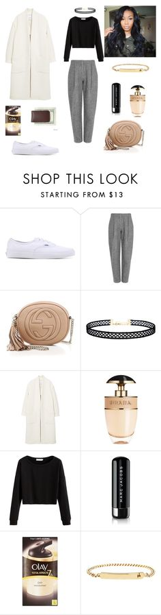 """Me is all I can be"" by celine-gero ❤ liked on Polyvore featuring Vans, Acne Studios, Gucci, LULUS, MANGO, Prada, Marc Jacobs, Olay, A.P.C. and Royce Leather"