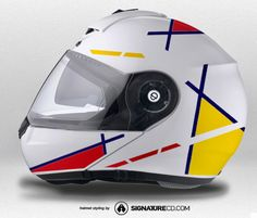 Schuberth C3 Pro Helmet (White) Vector Series Yellow & Red | Signature Custom Designs